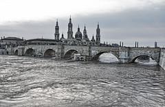 Agua va. (juanmzgz) Tags: ebro zaragoza puentedepiedra basílicadelpilar riada avenida