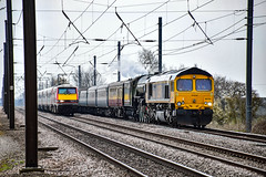 66744 + 60163 - Abbots Ripton - 14/04/18. (TRphotography04) Tags: railfreight 66744 crossrail is seen dragging failed lner pepercorn a1 60163 tornado was working the ebor flyer 1z63 0807 london kings cross gb york successfully until reaching just south sandy where it hit debris track requiring slow 20mph drag peterborough detached taken nene valley railway for inspection not good day or disappointed passengers board wewerebowledby91109 unfortunately after waiting over 2 hours we were bowled by 91109 huntingdon cambridgeshire