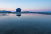 The Ice Shack [Explored] (WherezJeff) Tags: minimalist minimalism 2018 alberta canada wagner weatherandseasons ice iceshack meltwater reflection snow spring twilight dusk lesserslavelake distagon1528zf