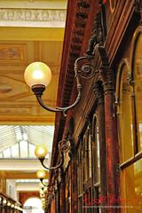 Antique Light Fitting - Galerie Véro-Dodat - Paris. (Kent Johnson) Tags: galerievérododat france 1000adjcecrphpf5312 antiquelightfitting castiron arcade paris passage architecture details