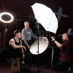 301 of Year 4 - Lights and lessons (Hi, I'm Tim Large) Tags: model set setup lights lighting ring tripod teacher camera pupil student fuji fujifilm xf 23mm f14 301 365 reflector umbrella brolly man male guy virgin first time xpro2