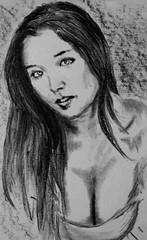 Ch.m. (silence.warrior18) Tags: drawingbycharcoal charcoal teen drawing hair painting busty christina girl woman realist