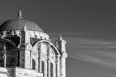 Curves (Through_Urizen) Tags: architecture category external istanbul ortakoy travel turkey mosque placeofworship architecturephotography blackandwhite whiteandblack bw monochrome mono canon1585mm canon70d canon outdoor sky clouds ornamental decorative minaret dome domedroof whiteclouds travelphotography building