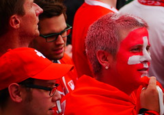 LoYaL. (WaRMoezenierr.) Tags: red white rood wit vlag zwitserland swiss voetbal supporter fussball colours kleuren smink flag people mensen street straat