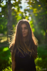 Shine (kle1n) Tags: beauty nature girl young trees green park dusk sun flare bokeh