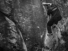 PA020102-1 (Ash.Ley.) Tags: escalade bloc boulder fontainebleau climbing nb noiretblanc blackandwhite sport rocher effort concentration précision adhérence