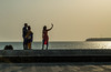 Arabian Sea Selfie (Robert Borden) Tags: selfie woman silhouette red goodlight fuji fujifilm fujiphoto xt2 50mm 50mmlens mumbai india arabiansea coast water sear