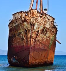 Agios Demetrios wreck (orientalizing) Tags: 23dec1981 agiosdimitrios coast eroding greece grounded gytheio gytheion laconia peloponnese shipwreck shore valtakibeach panorama rust