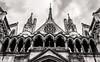 London - The Royal Courts of Justice (RCJ) Strand (Monochrome - Tinted) (Fujifilm X100F) (markdbaynham) Tags: fuji fujifilm fujista x100f fujix transx fujix100f apsc fixedlens primelens compact london londonist londoner capital capitalcity gb uk centrallondon urban metropolis