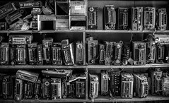 Old car stereos.... (Kevin Povenz Thanks for all the views and comments) Tags: 2018 march kevinpovenz michigan car auto automobile stereo blackandwhite bw canon7dmarkii monochrome shelves many storage sigma sigma24105 sigmaartlens