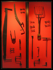 047 of 365 - Tools (Weils Piuk) Tags: photoblog365 artistic installation tools hanging wall red contrast saw handles interior decoration spot light simple frame art