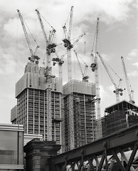 Cranes 2 (CactusD) Tags: london architecture construction cranes southbank south bank city skyline england nikon d800e fx uk unitedkingdom gb greatbritain great britain united kingdom mamiya rz67 film 120 60mmf28afsmicro 60mm afs f28 micro macro digitized 110mmf28 110mm 6x7 monochrome blackandwhite black white bw ilfordfilm ilford delta400