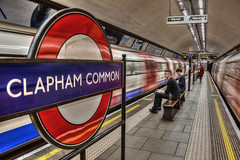 Clapham Common (D-W-J-S) Tags: london underground tube clapham common claphamcommon red blue passenger train movement blur slowshutter speed slow shutter hdr canon