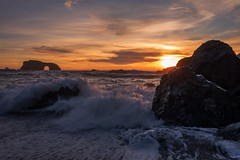 Sunset with Arch rock (Middle aged Nikonite) Tags: sonoma coast bodega bay blind beach goat rock arch california sunset landscape seascape nature outdoor ocean waves water crashing clouds nikon d750