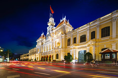 Ho chi minh city hall at dusk, Vietnam (Patrick Foto ;)) Tags: architecture asia asian building chi city cityscape classic colonial committee culture dusk famous flag french government hall historic ho indochina journey landmark landscape light minh modern monument night office old people peoples retro saigon square street structure tourism tourist tower town traffic travel twilight urban vietnam vietnamese view vintage hochiminhcity hồchíminh vn