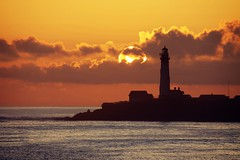 Fiery sun over a lonely lighthouse (PeterThoeny) Tags: sanfranciscobay sanfranciscobayarea california sanmateocountycoast pigeonpointlighthouse pacificcoast pacificocean pigeonpoint westcoast californiacoast sanmateocounty lighthouse landscape seascape sea ocean rock water coast day sun sunset sky outdoor cloud cloudy sony sonya7 a7 a7ii a7mii alpha7mii ilce7m2 tamron tamronsp150600mmf563 1xp raw photomatix hdr qualityhdr qualityhdrphotography silhouette fav200