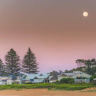 Dawn - Full Moon from the Beach
