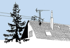 Kuppingen, Swabia, March 2018 (stevefaradaysketches) Tags: house suburb urbansketch inkdrawing penandinksketch illustration firs tree roof ariel