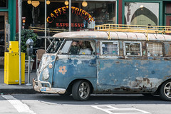 A Man and His Van (benakersphoto) Tags: sanfrancisco california street streetphotography streetphoto streets colorstreetphotography people person car volkswagen bus shop business restaurant contrast old vintage classiccars city citylife flickr nikkor auto