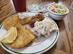 fish dinner (jeffreyw) Tags: potatosalad beans slaw tartarsauce dinner lunch filets friedfish