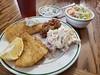 fish dinner (jeffreyw) Tags: potatosalad beans slaw tartarsauce dinner lunch filets friedfish