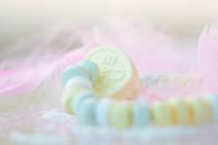 Sweet dream... (victoriameyo) Tags: dream flickrfriday sweets soft color macro closeup pastel heart love still life pink u feelings yellow green gentle