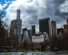 Plaza Hotel, NYC (Nathan Nixon Photography) Tags: plaza hotel sky city nyc new york cityscape landscape buildings skyscrapers clouds cloudy winter snow cold tall white blue grey trees nature