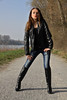 Tatjana 22 (The Booted Cat) Tags: sexy cute teen model girl tight blue jeans leather jacket boots overkneeboots heels highheels