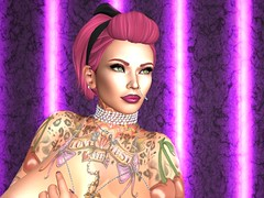 Topless with Light Sabers (Xuxa Loves You) Tags: xuxa xuxayue sexy secondlife pinkhair pinkhairdontcare tattooedchick tattoos escort domme topless jewelry rockabilly