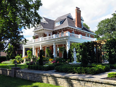 House, Port Hope, Ontario, Canada (duaneschermerhorn) Tags: house pillars columns yard tree trees bushes shrubs grass roof chimney
