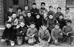 Class Photo (theirhistory) Tags: children kids boys class form group school coat jacket slate wellies boots