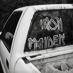 Portland (austin granger) Tags: portland ironmaiden pickup truck evidence reflection heavymetal band logo weathered design font letters handpainted square film gf670
