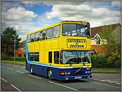 Sun-Shy of Southam................ (Jason 87030) Tags: ex dubline volvo olympian catteralls southam daventry college cat6 shackletondrive ashbyfields northants northamptonshire yellow blue bus doubledecker april 2018