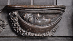 Ripple, Worcestershire, St. Mary's church, stalls, north: misericord of the moon (groenling) Tags: ripple worcestershire worcs england britain greatbritain uk gb stmaryschurch stalls wood carving woodcarving misericord astrology zodiac moon luna