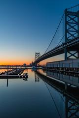 Serenity of the City (MrLoveland) Tags: sky blue quiet serene pier dock river water cityscape morning landscapes landscape silhouette philadelphia city sun sunrise