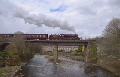 LMS 'Crab' Locomotive No.13065 works over Summerseat Viaduct, with the 12.20 service from Bury to Rawtenstall. East Lancs Railway. 01 04 2018 (pnb511) Tags: steam engine loco locomotive train eastlancsrailway bridge viaduct river trees irwell clouds stonework mogul 260