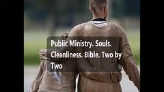 Public Ministry. Souls. Cleanliness. Bible. Two by Two (swhayward4) Tags: offence offensive set time date go appointment schedule calendar day excuse do specific soul man animal save whales manatees eternal afterlife heaven hell human death born cleanliness clean wash body clothes hair neat fashion refresh smells stinks overpowering underarms deodorant bathe shower advertising advertise shirts pants dress bible pairs teams witness small big helpful team