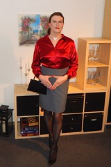 Merkel rhombus (Rikky_Satin) Tags: silk satin blouse pencil skirt pantyhose highheels handbag crossdresser transvestite tgirl tgurl gurl