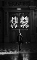 Chile | Santiago | Street (Medigore) Tags: añadir etiquetas sombras shadows white byn blanco black chile canont3i calle canon 1750 medigore sigma monocromático gente work street people life ngc geometría simetría líneas muro