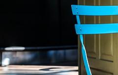 Azur. (Canad Adry) Tags: paris saintemarthe nikon nikkor ais 105mm f25 chaise chair blue bleu sun shadow light bokeh color colorfull sony vintage old classic manual prime legendary lens street outside out
