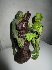 Easter Creature and Chocolate Rabbit 9065 (Brechtbug) Tags: easter creature chocolate bunny rabbit 2018 universal pictures studio black lagoon monsters new york city undead zombie cadaver horror terror halloween fright toy toys moody shadow shadows face portrait 1954 movie film hollywood fish man gill gillman collectable collectible type lite light holiday gloomy goth gothic action figure chocolates eeeaster april fools green 04012018