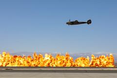 "P-38 ""23 Skidoo"" (Trent Bell) Tags: lancaster foxairfield airport losangelescounty airshow 2018 california aircraft warbird p38 p38lightning 23skidoo pyro pyrotechnics"