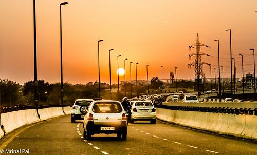 Sunset viewed from barapullah overpass   New Delhi
