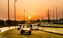 Sunset viewed from barapullah overpass | New Delhi (mrinal pal photography) Tags: barapullah flyover overpass sunset sky road car traffic new delhi