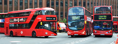 New Routemaster with 2 London buses (Travis Pictures) Tags: bus buses busstation busesuk londonbus londonbuses transportforlondon transport publictransport aldgate aldgatebusstation eastlondon eastend zone1 towerhamlets wrightbus gemini red redbus doubledecker doubledeck tfl outdoors outside londontransport nikon d5200 photoshop city capitalsoftheworld capitalcity arriva stagecoach alx400 alexanderdennis