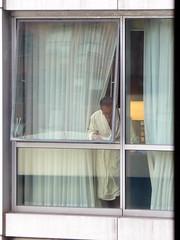 Secret smoker--Explored (yooperann) Tags: man yellow bathrobe smoking wit hilton doubletree hotel chicago