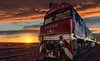 The Ghan at sunset near Coober Pedi S.A, (tedhort3) Tags: deisel train australia sundown desert dusk railroad outback ghan cloud southaustralia rail d610 nikon1424 fullframe