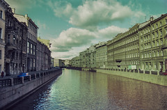 Wandering around in the morning somewhere in St. Petersburg, Russia. (amy buxton) Tags: russia stpetersburg sovietunion pentaxk1000 film canal clouds october1985 leningrad sanktpeterburg