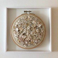 Textured Embroidery (Katie-Rose) Tags: texturedembroidery stitching handstitched embroideryhoop buttons sequins beads threads cream 27framewithinaframe 52in2018challenge