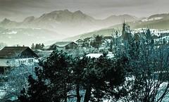 Combloux lomography turquoise 02 2018022 (Patrick.Raymond (4M views)) Tags: alpes haute savoie megeve comloux montagne neige froid gel bois arbre foret argentique nikon lomography turquoise